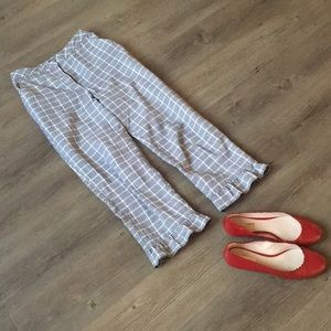 Topshop crop ankle trouser cotton linen